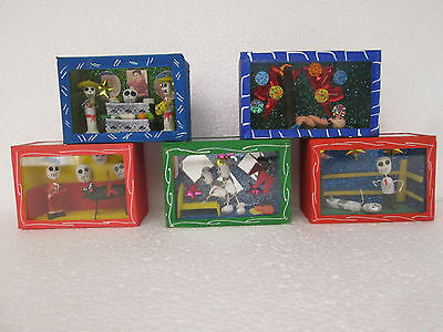 5 SHADOW BOX SET day of the dead lot  nicho handmade miniature mexican folk art