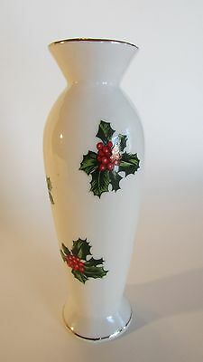 Vintage LEFTON Holiday Holly Berry Bud Vase 7942 with Gold Trim and Red Label