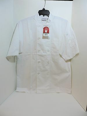 NEW Chef Works Jacket, Medium, White Short Sleeve Basic Chef Coat