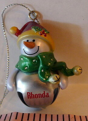 GANZ Jingle Bell Snowman RHONDA Ornament
