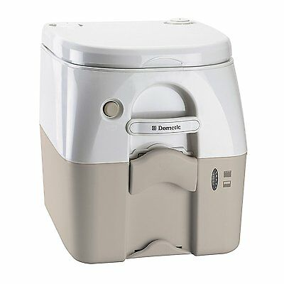 Dometic 301097502 Portable Toilet w/ Stainless Steel Hold-Down Brackets, Tan