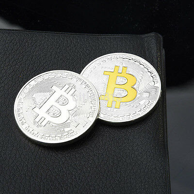 Silver Plated Physical Bitcoin BTC Art Collection Miner Activities Souvenirs AU