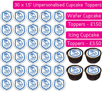 30 Sheffield Wednesday Football Team Edible Wafer & Icing Cupcakes Toppers Swfc