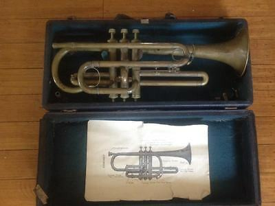 Antique Vintage 1920s Symphony Pro Cornet Horn  Made in Czechoslovakia With Case