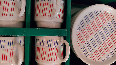 10-Piece Vtg ESPRESSO-DemiTass SET Made in Japan Red/White/Blue 4 Cups 6 Saucers