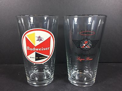 AWESOME RETRO Budweiser Beer Pint Glass Set of 2!