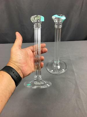 Tiffany Crystal Doric Greek Column Candle Sticks With Labels