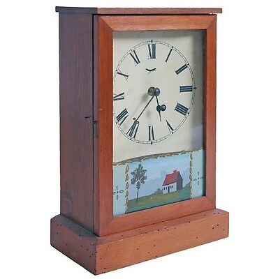 Henry Sperry Reverse Painted Antique Mantel Clock