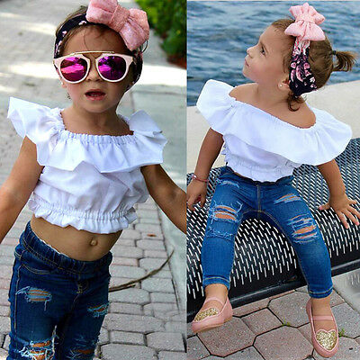 Baby Girl Kid Shirt Cropped Tank Top T-shirt Clothes+Jeans Pants Outfit US STOCK