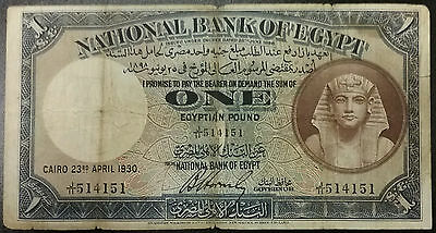 1930 EGYPT 1 Egyptian Pound 22a National Bank Of SCARCE Hornsby 1ST DAY Note