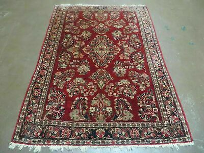 3' X 5' Antique Hand Made  Persian Sarouk Wool Rug Carpet Authentic  Red Nice