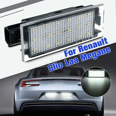 LED License Number Plate Light No Error For Renault Clio Megane Twingo Laguna