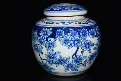 Rare Old Collectible Handmade Porcelain Drawing Japan Dowager Big Pot Tea Caddie