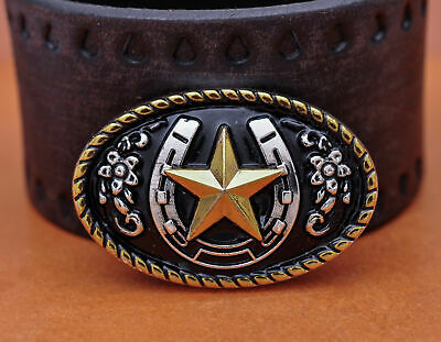 4PC 45*30mm Western Gold Silver Plated Texas Star Rope Side Leathercraft CONCHOS