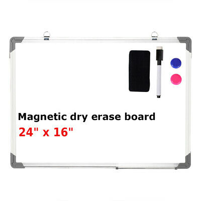 "24""x16"" Magnetic Whiteboard Office Dry Wipe Drawing & Writing Erase Board School"