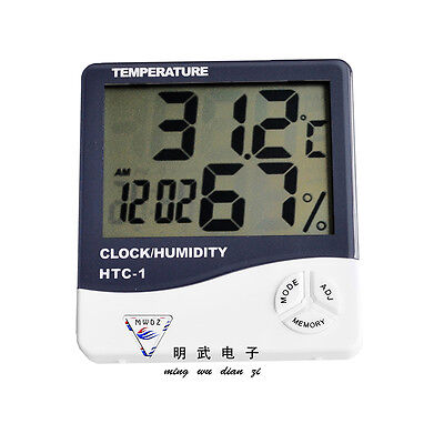 NEW  Digital LCD Temperature Humidity Meter Clock Indoor Hygrometer Thermometer