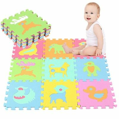 10pcs Baby Floor Puzzle Tiles Crawl Activity Play Mat Kids Interlocking EVA Rug