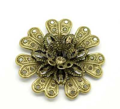 Bronze Tone Hollow Filigree Flower Wraps Connnector Embellishments 58x48mm