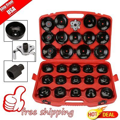 US Auto Cup Type Oil Filter Cap Wrench Socket Removal Tool Set W/case 30Pcs Pro