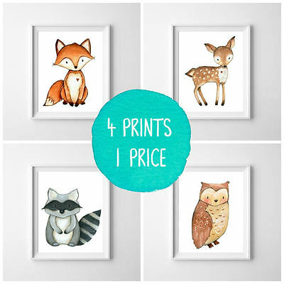 Nursery Prints Woodland Friends - Set of 4 - Decor Wall Art - Unframed Small A5