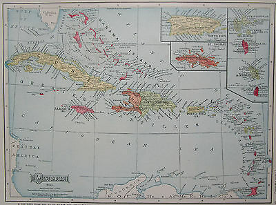 Vintage 1909 Dated CARIBBEAN WEST INDIES Map Art PUERTO RICO, Jamaica, St Lucia
