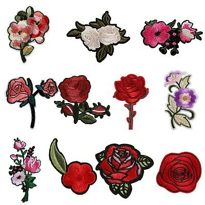 2PC Rose Flower Embroidery Sew On Patch Badge Bag Hat Jeans Dress Applique Decor