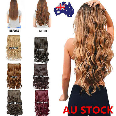One Piece 5 Clip Clip-on Long Synthetic Wavy Curly Human Hair Extensions 6 Color