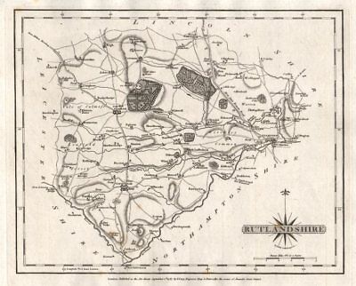 Antique county map of RUTLANDSHIRE by JOHN CARY 1787 old chart
