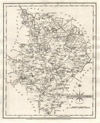 Antique county map of HUNTINGDONSHIRE by JOHN CARY 1787 old chart
