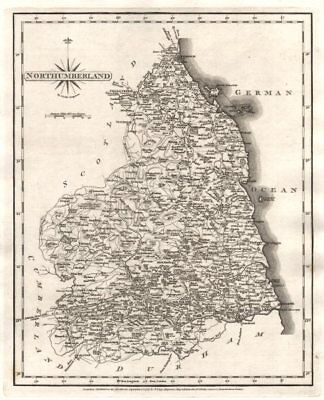 Antique county map of NORTHUMBERLAND by JOHN CARY 1787 old chart
