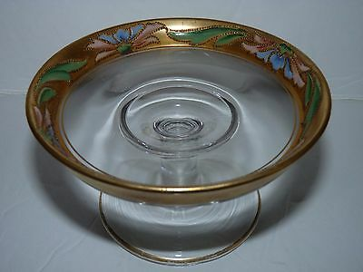 "ANTIQUE Glass FOOTED Bowl Compote GOLD Hand Painted ART NOUVEAU 5"" x 3"""