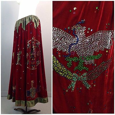 RARE Vintage 1960s 1970s Red Velour Authentic Gypsy Novelty Sequin Maxi Skirt XL