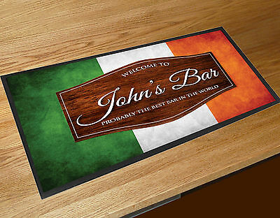 Personalised Welcome Irish Flag Ireland wood effect Beer bar runner mats