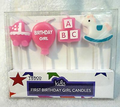 Baby Girls First Birthday Candle Pack 4 Piece Birthday Cake Candles Topper New