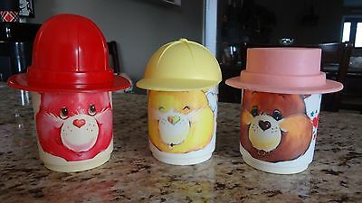 Vintage Care Bears Plastic Cup Lot of 3 w/Hat Lids!Tenderheart Funshine Lovealot