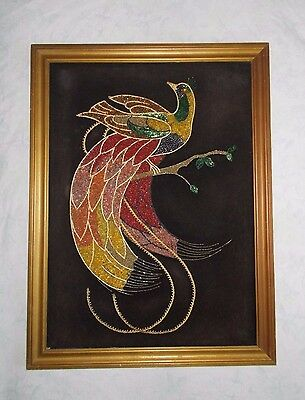 Vintage Framed Artwork Black Velvet Stones Beaded Peacock Art Wall Hanging Large