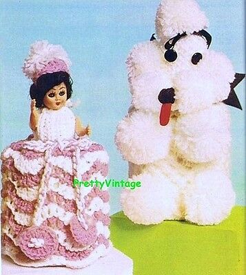 Knitting Pattern To Make 2 Vintage Toilet Roll Covers Crinoline Lady & Poodle Dk