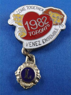 Lions Club Canada 1982 Toronto Come Together Ontario Vintage Hat Lapel Pin