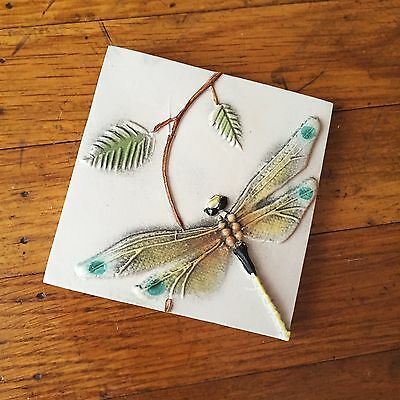 NATALIE SURVING - Dragonfly Relief Tile - Handmade Art Porcelain 1998