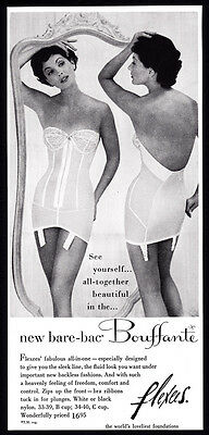 Vintage Flexces lingerie all-in-one print ad 1956 - girdle, corset