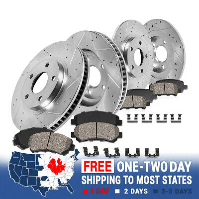 For Lexus IS350 GS350 Front Rear  Drill Slot Brake Rotors+Ceramic Brake Pads