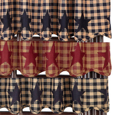 Star and Check Scalloped Country Curtain Valance Navy Black or Burgundy'