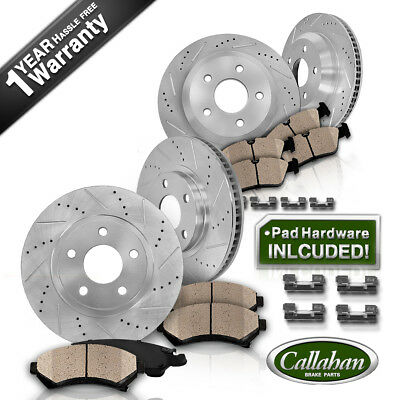 Front & Rear DRILLED SLOTTED BRAKE ROTORS AND CERAMIC PADS Lexus LS600h LS460
