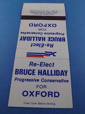 Bruce Halliday Mpp Oxford County On Matchbook Vintage Canada Election Promo