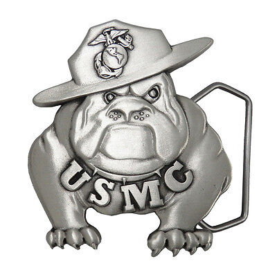 US Marine Corps Pewter Bulldog Buckle USMCBB201. Made in USA.