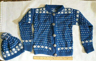 Vintage Child's Hand Knit Handmade Wool Cardigan Sweater & Hat Unisex–Blue/White