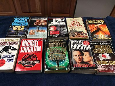 Lot Of 10 Michael Crichton Paperback Used Read Books