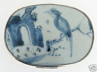 Chinese Sterling Silver Snuff Box W Blue & White Porcelain Lid - Shard - SL