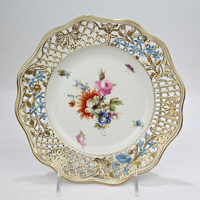 Vintage Meissen Porcelain Reticulated Plate w Deutsche Blumen - Flowers 1 PC