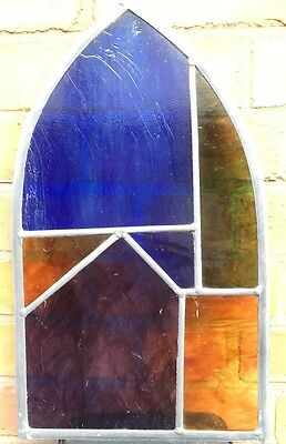 Stained Glass Leaded Window , Cathedral Shape Window With Antique Glass